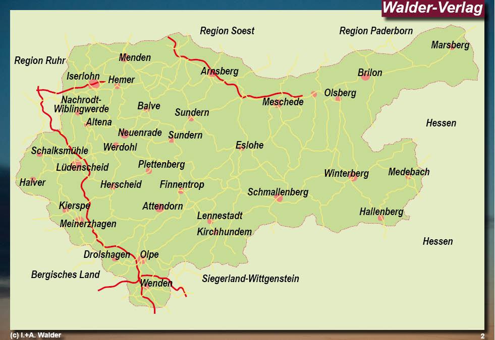 Sauerland Karte Deutschland.Sauerland Hohenstrasse Reisefuhrer