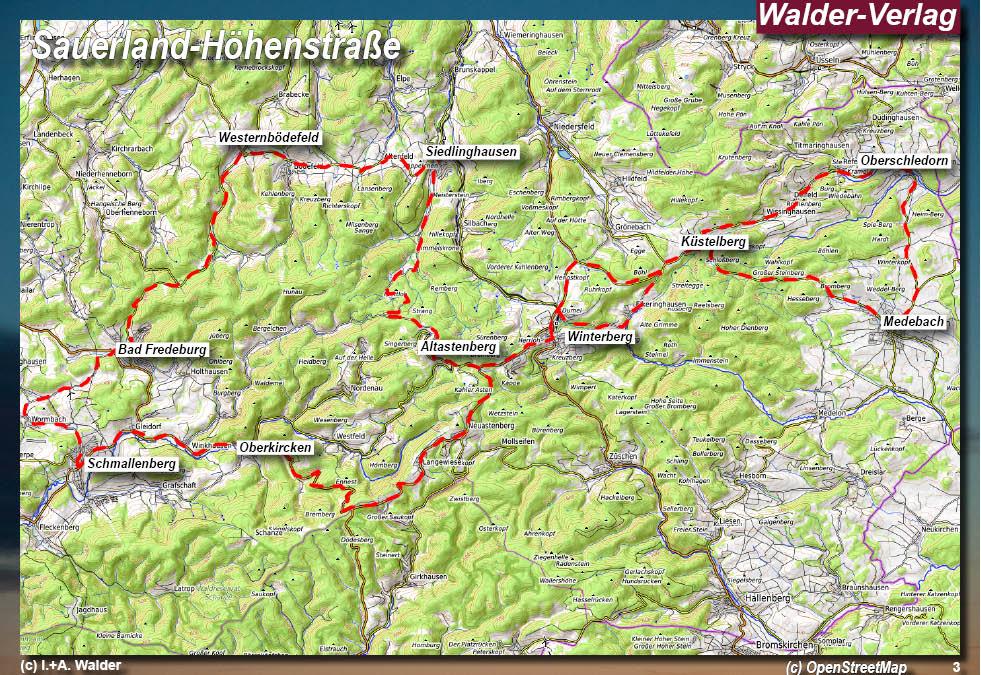 Sauerland Karte Berge.Sauerland Hohenstrasse Reisefuhrer