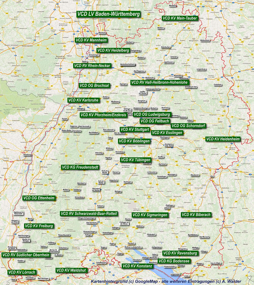 bäder deutschland karte Verkehrsclub Deutschland   VCD Karte   Baden Württemberg