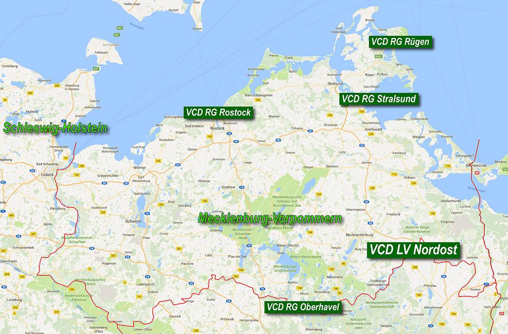 Karte Mv Kostenlos.Verkehrsclub Deutschland Vcd Karte Mecklenburg Vorpommern